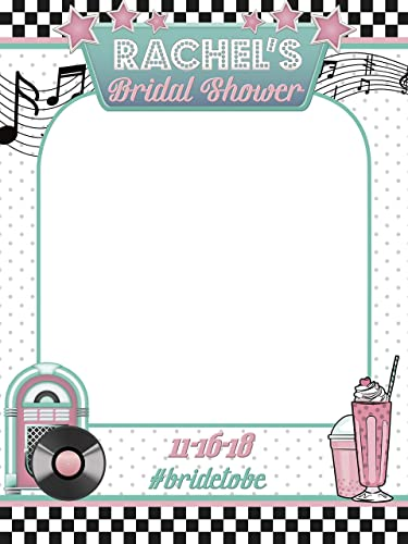 disco bridal shower selfie frame music theme with jukebox record and milk shake photo prop musician