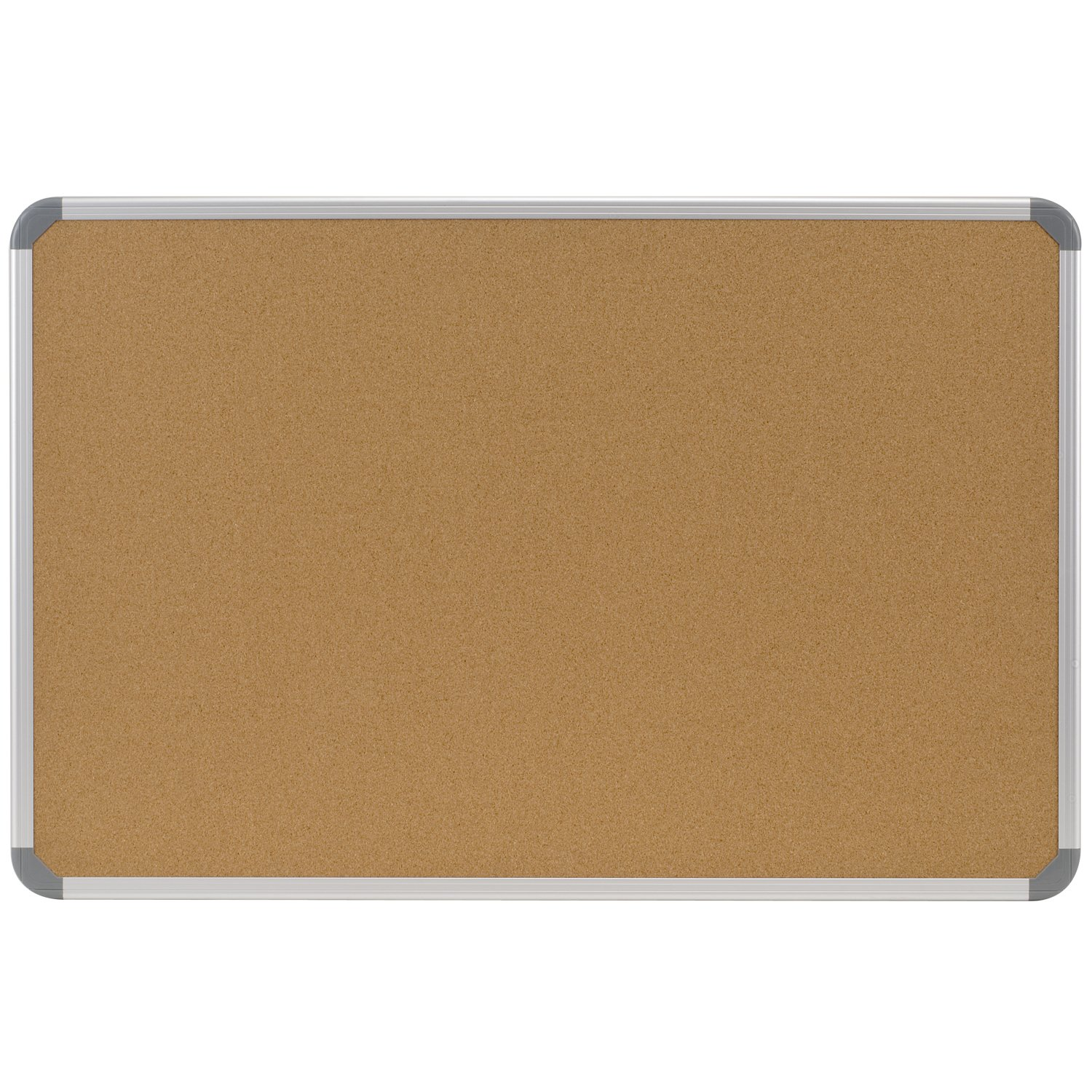 Ghent 48''x96'' Aluminum Radial Edge Euro-Style Frame Natural Cork Bulletin Board, Made in the USA