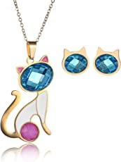 CARSINEL 18K Oro para Joyería de Moda Collar de Mujer Juegos Gato Colgante Acero Inoxidable Collar Pendientes Cristal Juegos