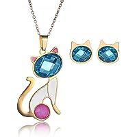 CARSINEL Chapado de 18K Oro para Joyería de Moda Collar de Mujer Juegos Gato Colgante Acero Inoxidable Collar Pendientes Cristal Juegos