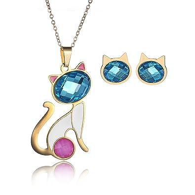 27e87162df3e CARSINEL Chapado de 18K Oro para Joyería de Moda Collar de Mujer Juegos  Gato Orejas Rosadas