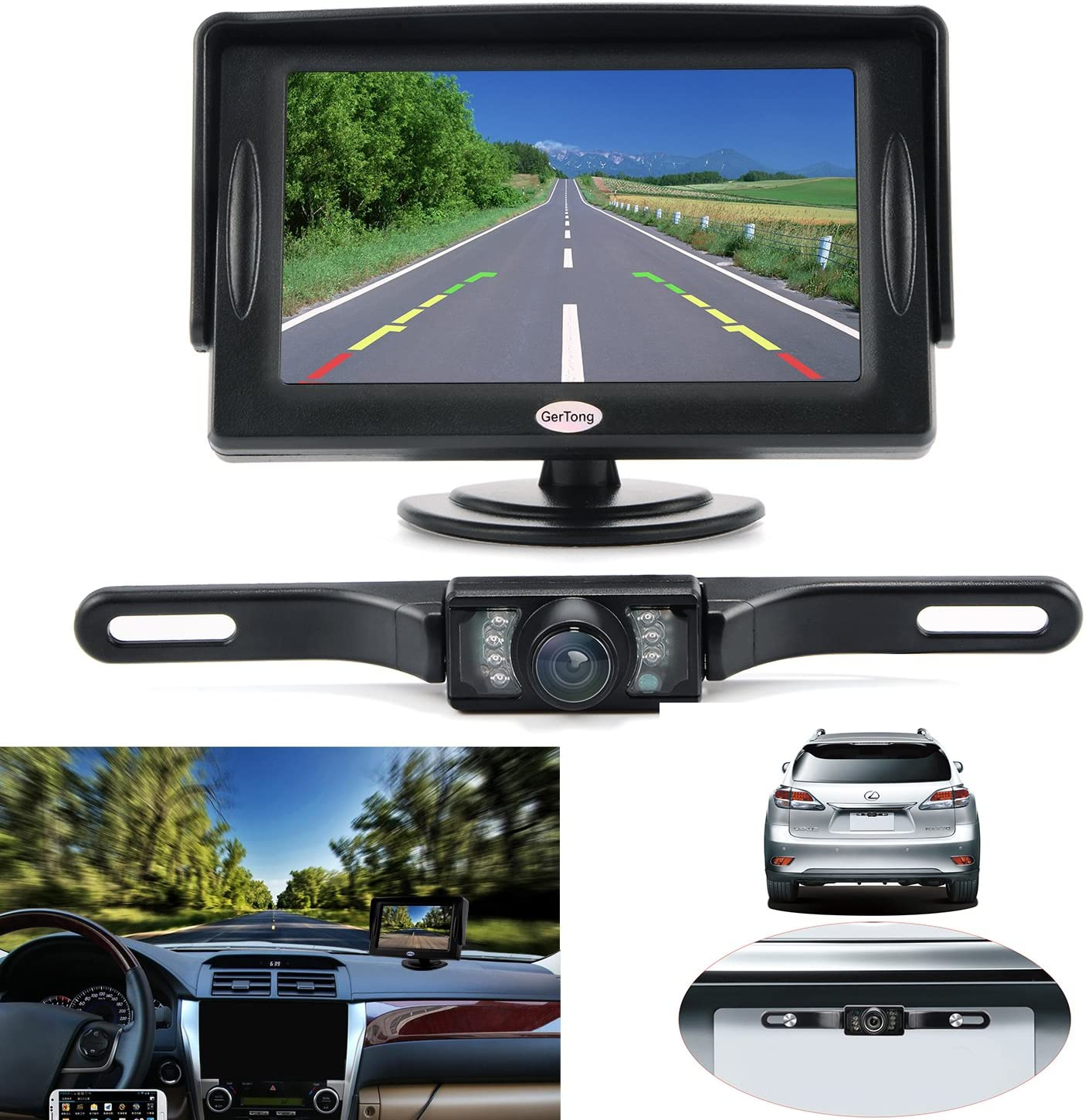 Wired Vehicle License Plate IR Rear View Night Vision Reverse Parking Car Cam MT