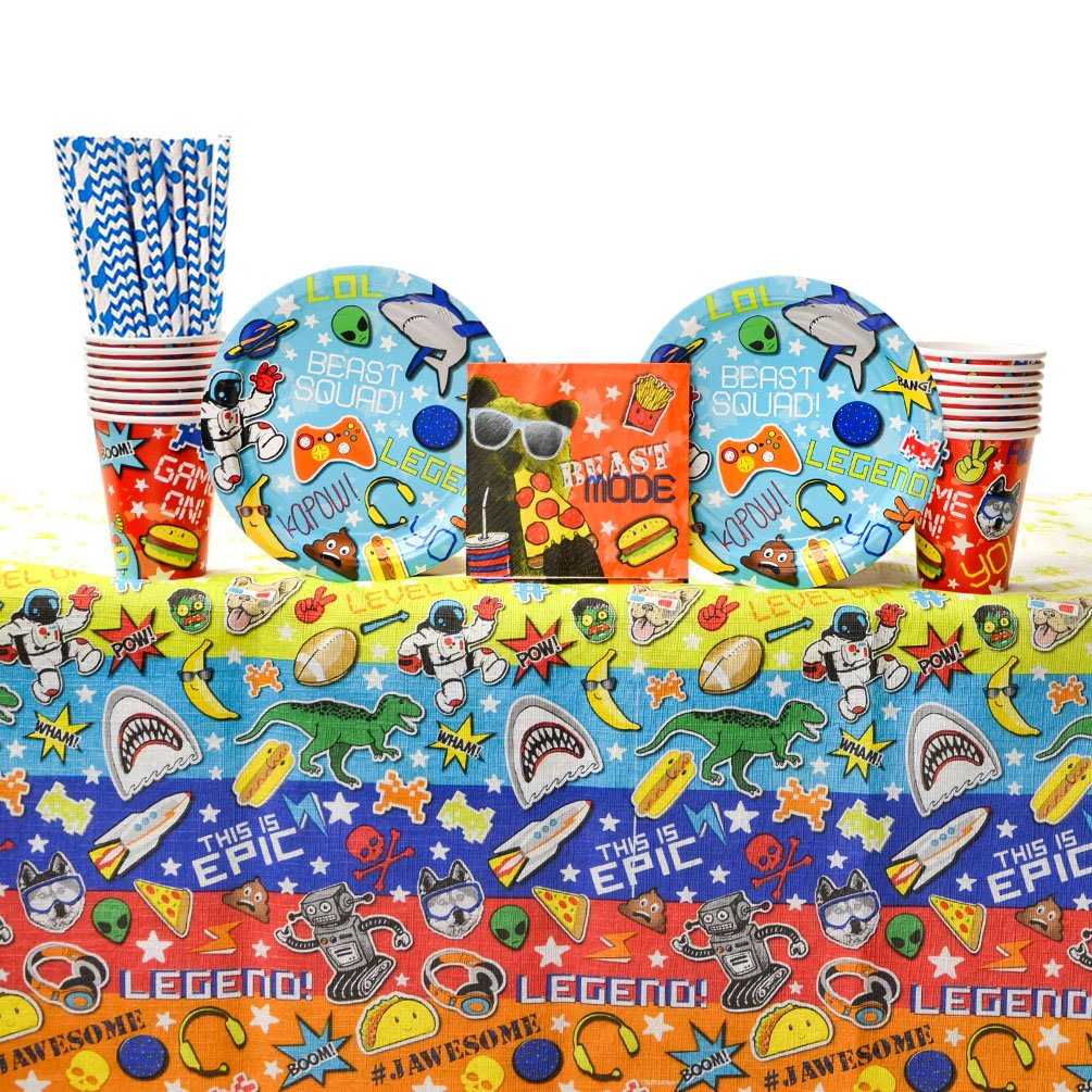 Epic Party Supplies Pack for 16 Guests: Straws, Dessert Plates, Beverage Napkins, Table Cover, and Cups