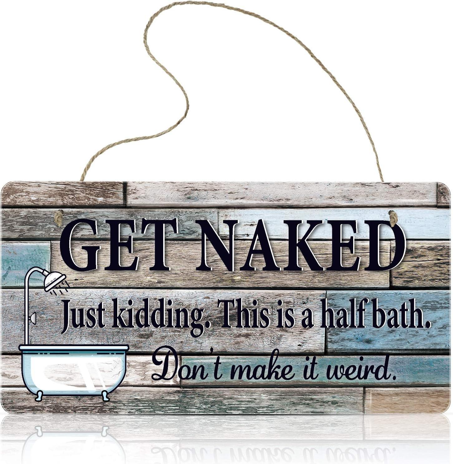 Jetec Funny Bathroom Decoration Sign Get Naked Wall Art Sign 9.8 x 5.1 inch Inch Hanging Wall Art Sign Home Bathroom Decor