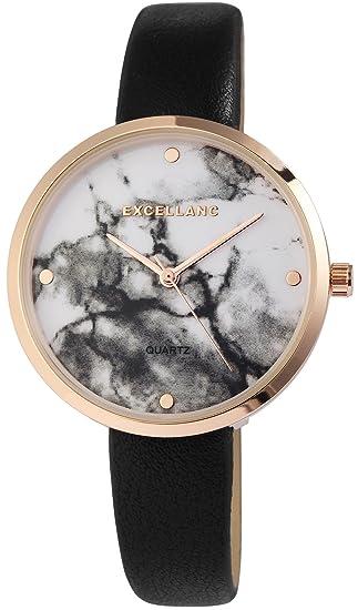 Reloj mujer Blanco Negro Oro Mármol de piel Look analógico de cuarzo reloj de pulsera: Amazon.es: Relojes