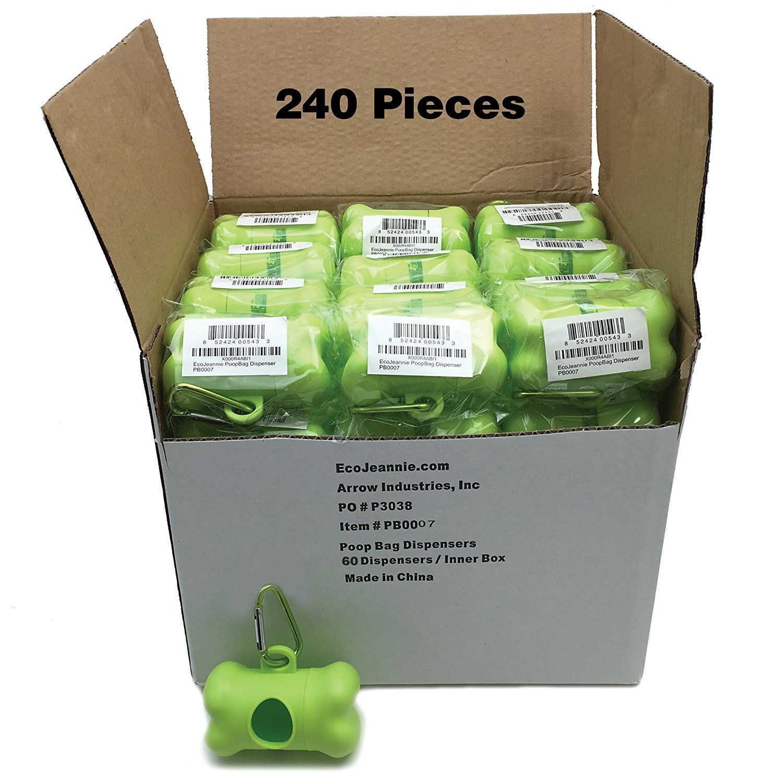EcoJeannie 240 Pack Dog Poop Bag Dispenser with Stainless Steel Carabiner Clip- Dog Waste Poopbags Holder, Dispensers for Dog Waste Bags, Pet Waste Poopbags : Fits Most Pet Bags