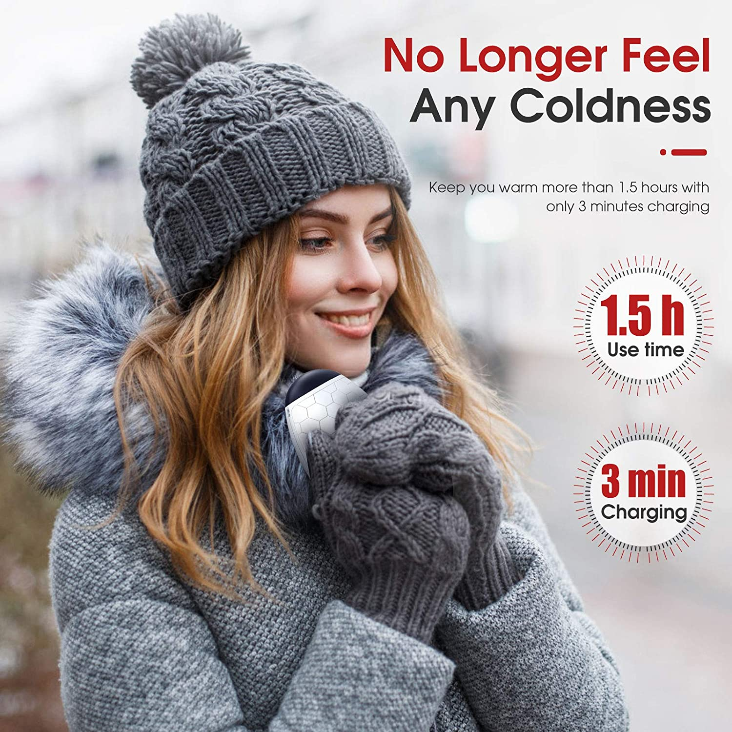 Camping Hand Warmers Rechargeable Quick Heating Portable Warmer for Outdoor Sports 3 Minutes Fast Charging Hunting 2020 Upgraded Electric Hand Warmer Reusable Warm Gifts for Girls Women Men