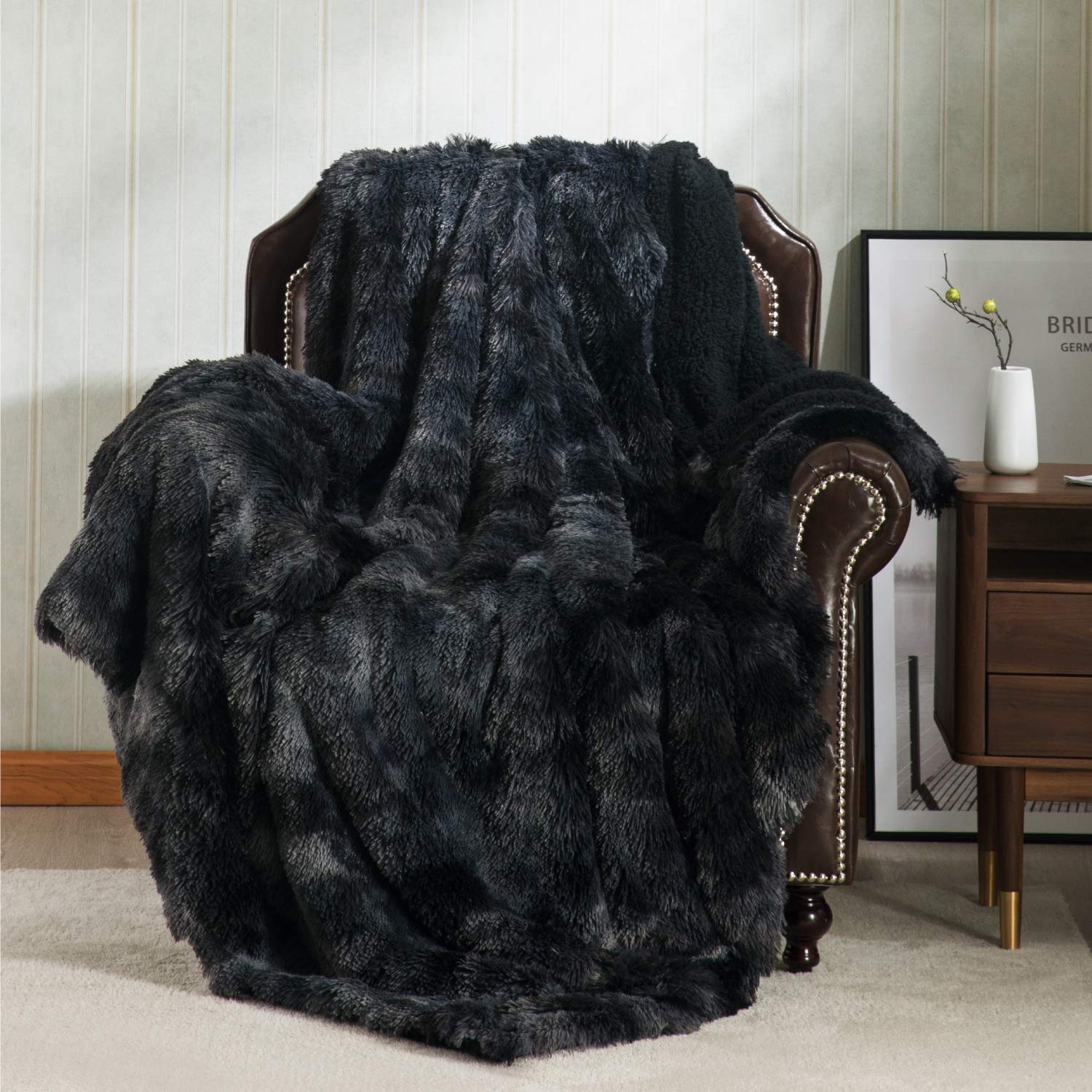 Bedsure Faux Fur Reversible Tie-dye Sherpa Throw Blanket for Sofa, Couch and Bed - Super Soft Fuzzy Fleece Blanket for Outdoor, Indoor, Camping, Gifts (60x80 inches, Black)