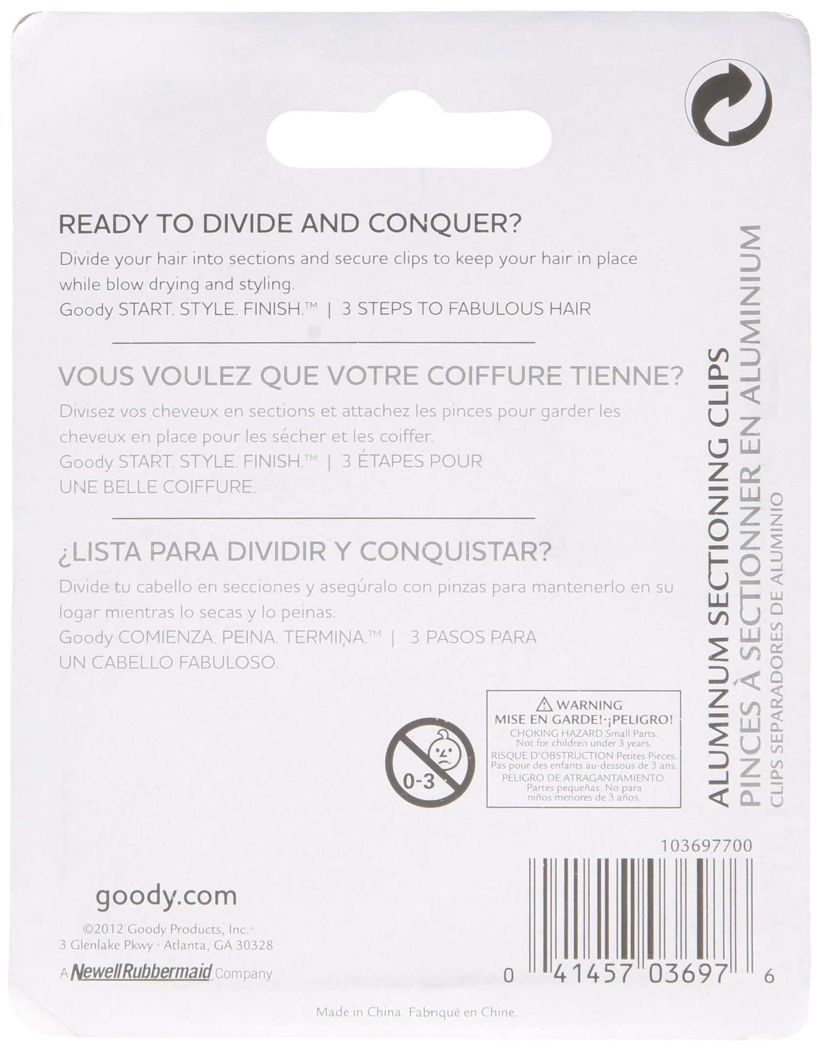 Goody Aluminum Clips, 1 Count, Silver