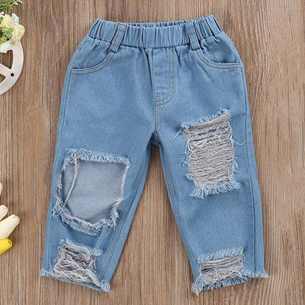 c05f9221504 Amazon.com: 3Pcs Baby Girl Clothes Off Shoulder Ruffles Crop Top and Hole  Denim Pant Jeans and Headband Outfits Sunsuit: Clothing