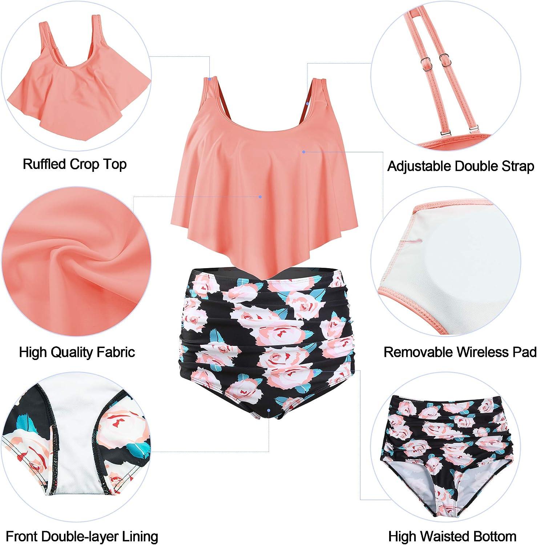 Zando Women Ruffled Flounce Strappy Bikini Print High Waisted Swimsuit Two Piece Bathing Suit Top with Swim Bottom