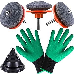 6 Piece Lawn Mower Blade Balancers for 42-100 Lawn Mower Blade Sharpener Grinder Wheel Stone for Power Drill Hand Drill Garden Gloves with Claws (Orange Sharpener)