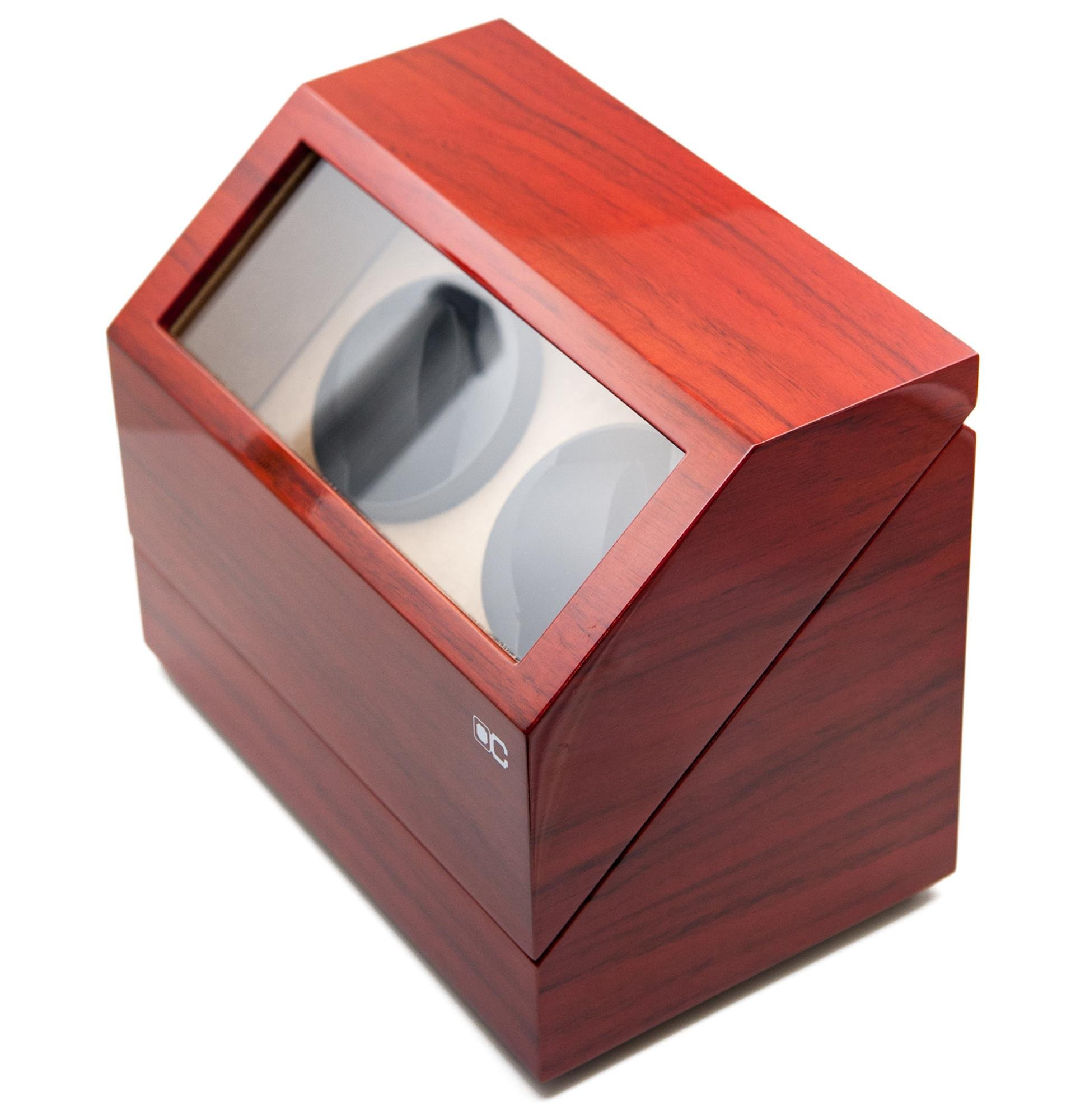 KAIHE-BOX Classic Watch Winders for 2 Watches for automatic Watch Winder Rotator Case Cover Storage(2 color,ww-02132) , Red by KAIHE-BOX (Image #2)