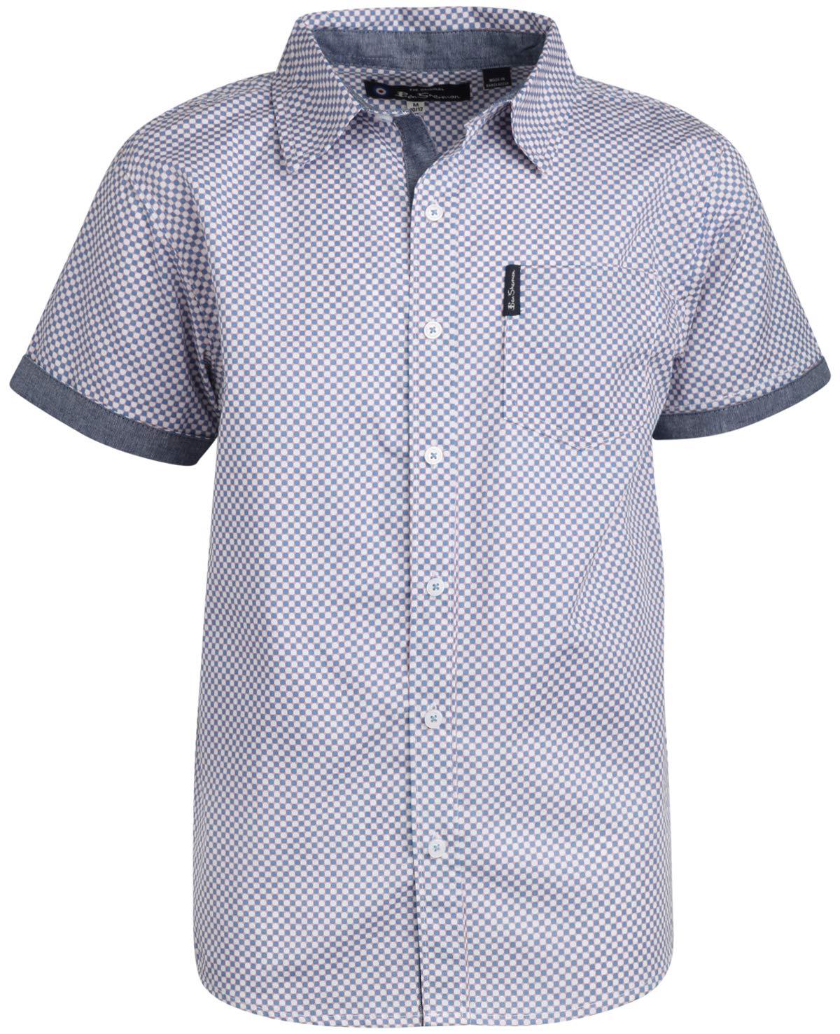 Ben Sherman Boys Short Sleeve Button Down Shirt (Light Blue/Dots, 14/16)'