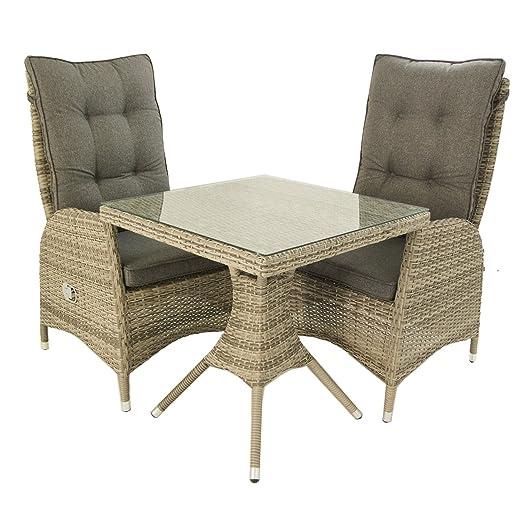 Edenjardi Conjunto Muebles Exterior, Mesa Cuadrada 70 cm y 2 sillones reclinables, Aluminio y rattán sintético Plano Color Gris, 2 plazas, Cristal ...