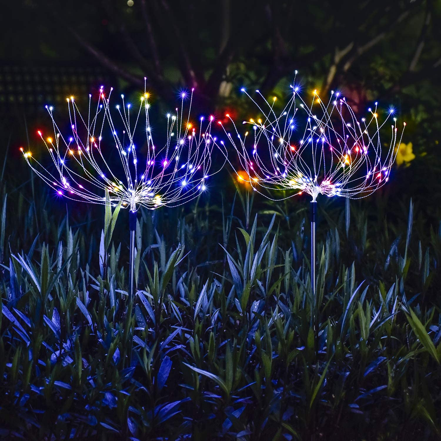 [2 Pack] ooklee Solar Garden Lights, Firework Lights, 150 LED 8 Modes Copper Wires String Landscape Light Stake Fairy Light Flowers Trees for Walkway Patio Lawn Backyard Christmas (Multi-Colored)