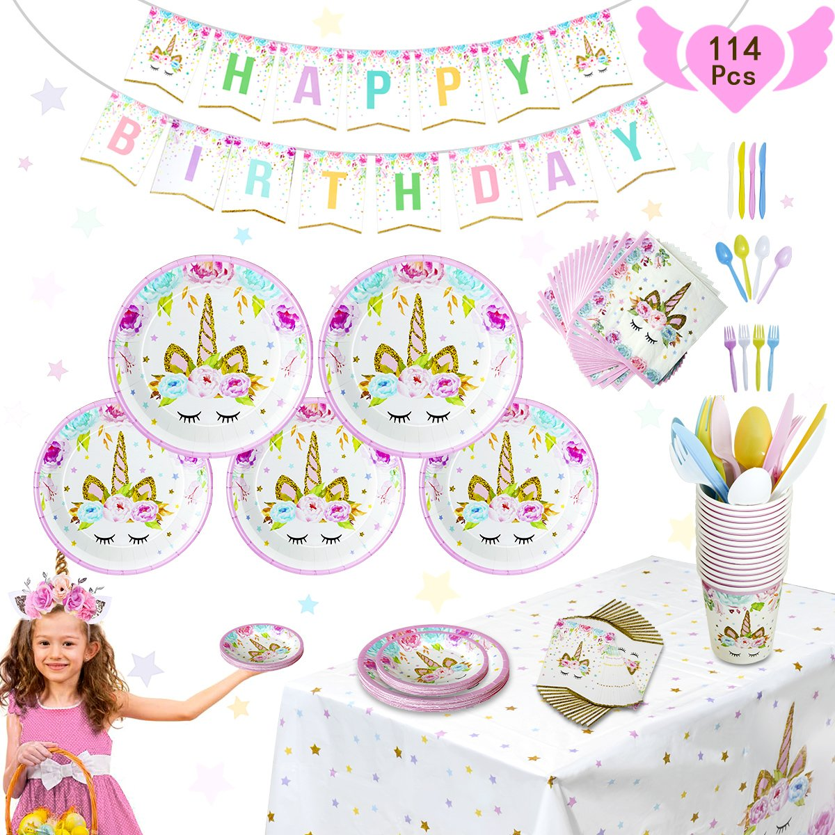 Pink Unicorn Party Supplies Set - 114 Pcs Totally 16 Guests - Unicorn Birthday Party Supplies Decorations Includes Disposable Plates, Tablecloth, Banner For Girls, Kid 1st Birthday, Theme Party