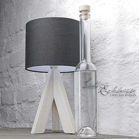 Lámpara de sobremesa Noble Tejido de pie de madera color ...