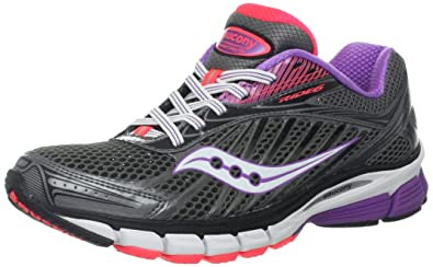Saucony Women's Ride 6 Running Shoe,Grey/Purple/Vizipro Coral,5 W