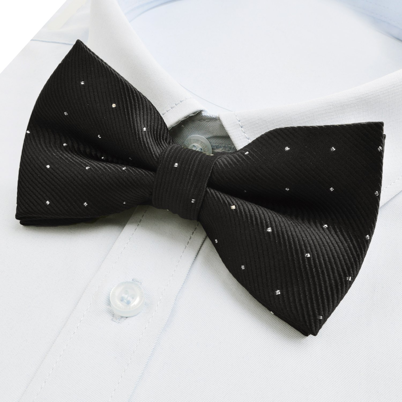 Adjustable Neck Mens Pre-tied Bow Ties with Silver Pots Navy Blue