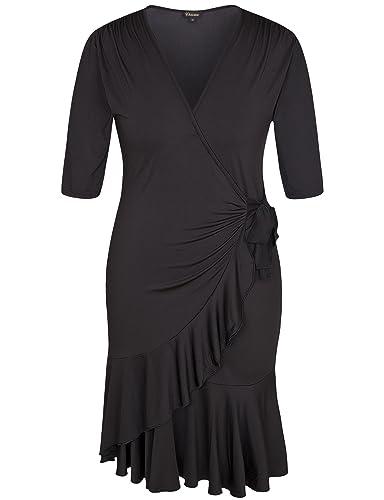 Chicwe Donna Taglie Forti Vestito Capriccio Vestiti Avvolgere Wrap Dress 1X-4X