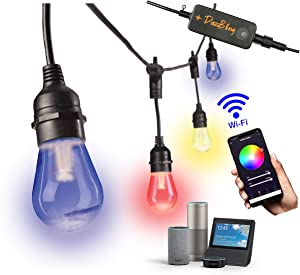 Outdoor String Lights - Patio Lights Outdoor Waterproof Smart Commercial Grade 49ft Color Changeable & White LED Smart String Lights Outdoor 2.4GHz WiFi Works with App Alexa Google 15 Edison Bulbs RGB