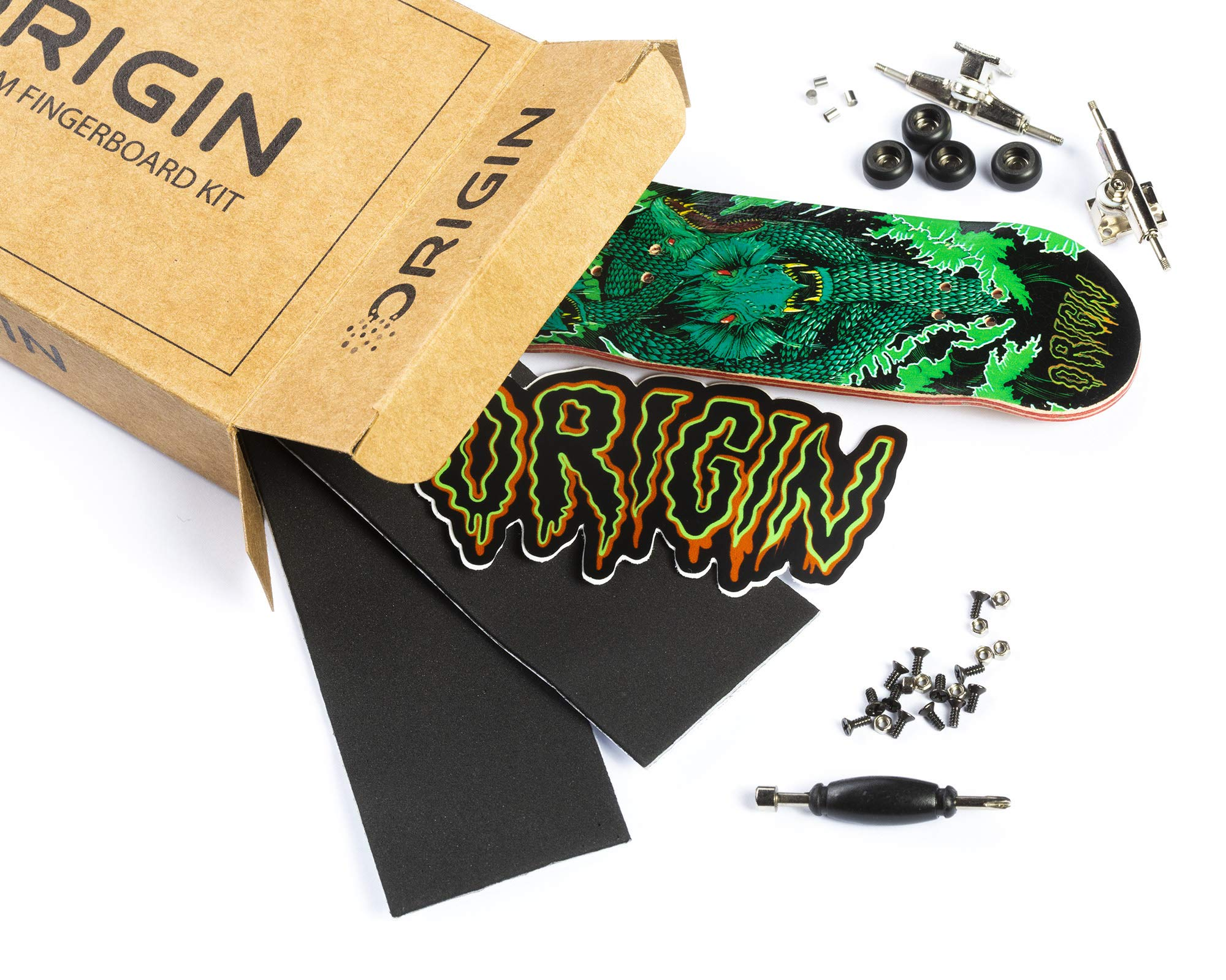 Origin Fingerboards Premium Graphic Fingerboard Kit - 32mm 5-Ply Canadian Maple Skateboard Toy with CNC Bearing Wheels (Hydra) by Origin Fingerboards (Image #1)