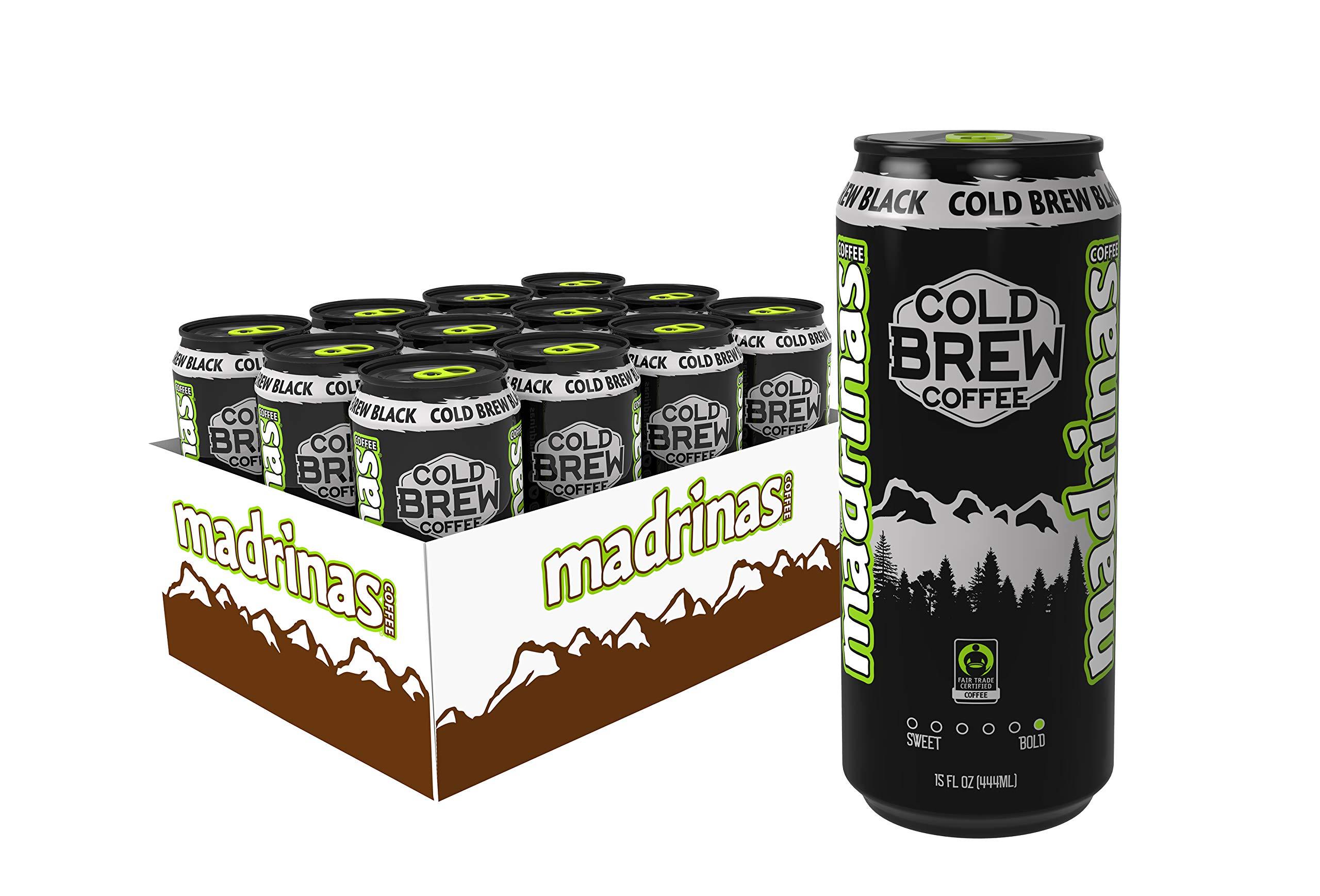 Madrinas Coffee Fair Trade Organic Cold Brew Black, 15 fl oz (Pack of 12) by Madrinas Coffee