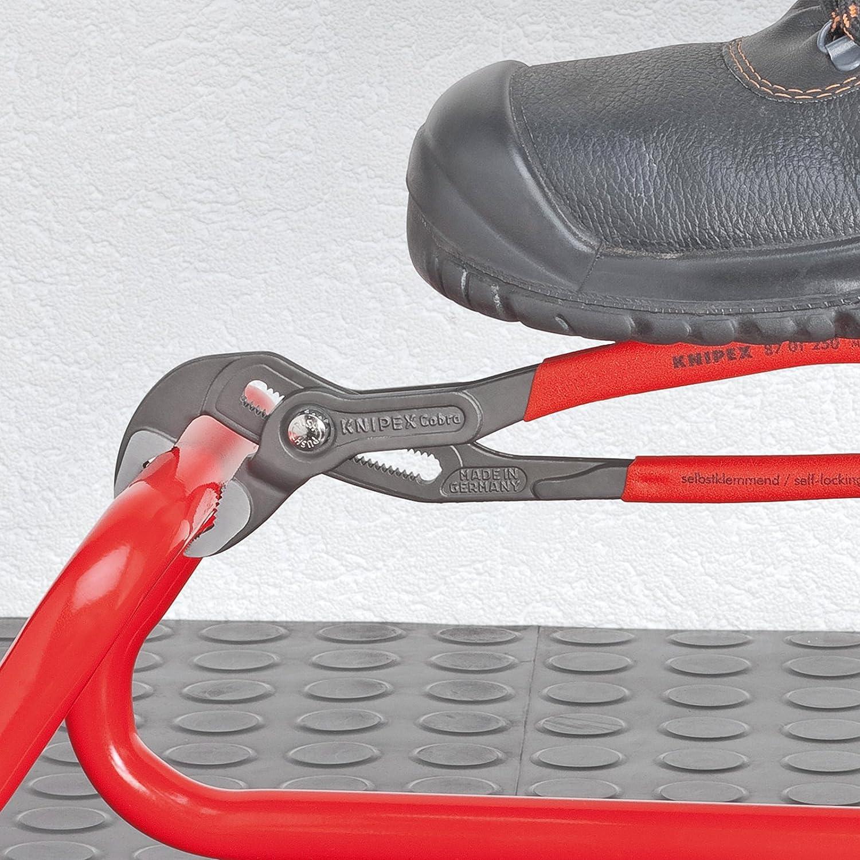 KNIPEX 87 03 250 Cobra/® Pinza regolabile di nuova generazione per tubi e dadi cromata rivestiti in resina sintetica antiscivolo 250 mm