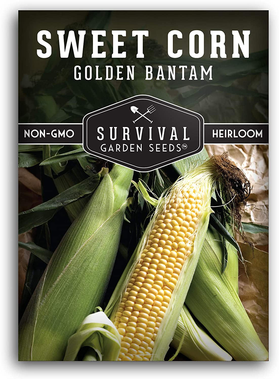 Survival Garden Seeds - Golden Bantam Sweet Corn Seed for Planting - Packet with Instructions to Plant and Grow in Your Home Vegetable Garden - Non-GMO Heirloom Variety