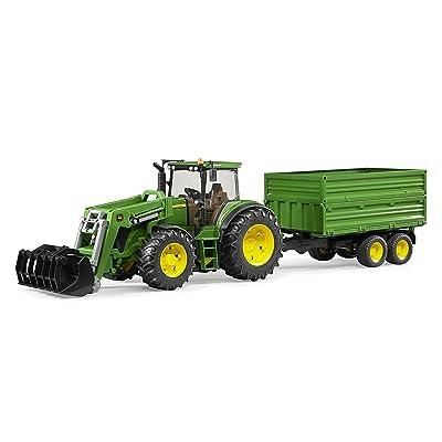 Bruder 3055 - Tractor John Deere 7930 con Pala Frontal y Remolque: Juguetes y juegos