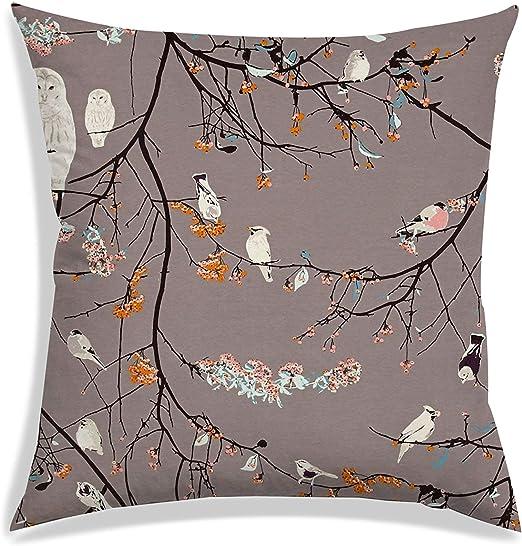 Bird Digital Print Satin Fabric Decorative Square Throw Sofa Couch Pillow Case