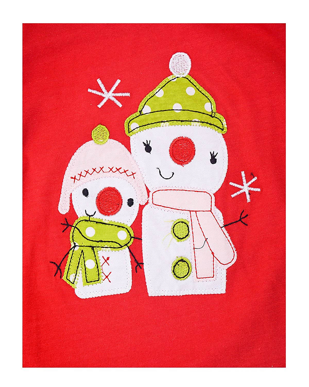 Gold treasure Little Kids Sleepwear Long Sleeve Pajama Set with Cartoon Santa Snowman