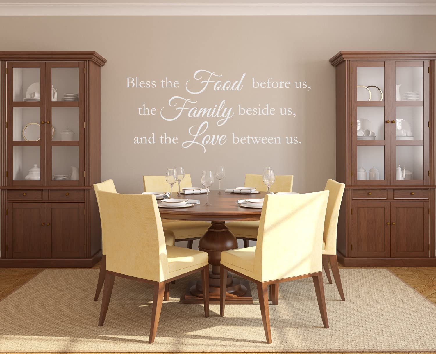 """The Vinyl Design Company Bless the Food before us, Family beside us, Love between us - Vinyl Wall Art Decal - 40"""" W x 18"""" H (White)"""