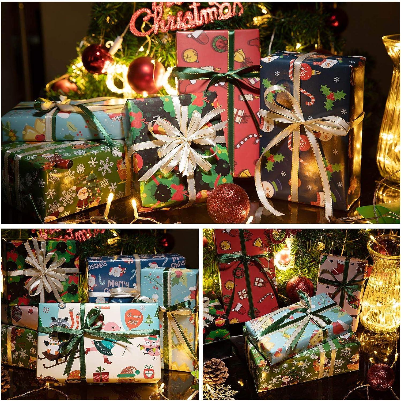 ZWOOS Carta da Regalo Natalizia 50x70 cm 8 Fogli Carta Regalo e 2 Rotoli Nastro Regalo Carta Regalo Bambini Uomini Femminili Regali Carta da Pacchi per Confezionare Regali di Natale