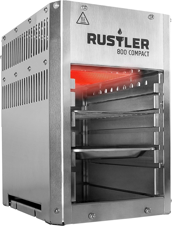 Rustler 800 - Barbacoa compacta de Alto Rendimiento, Color Plateado