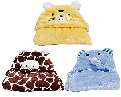 Kid s – Toalla con capucha safari animales – Super suave y absorbente – 3