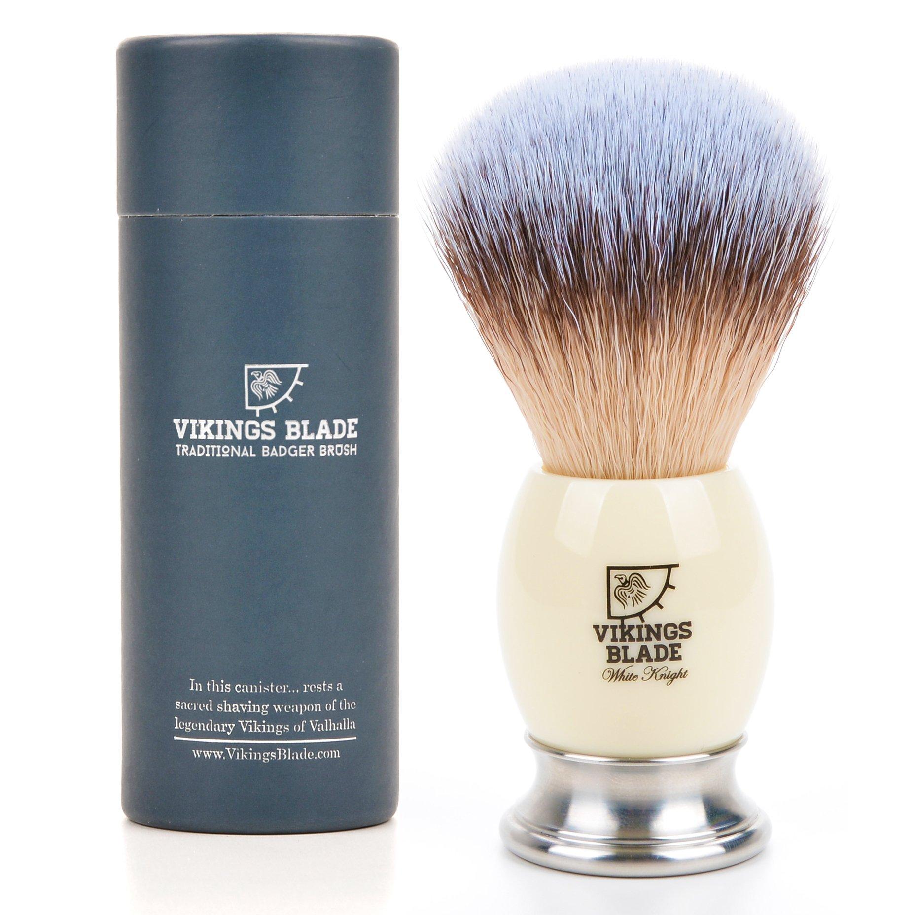 VIKINGS BLADE Luxury Synthetic Silvertip Brush, Heavy Swedish Alloy Base + Faux Ivory Tusk Acrylic, White Knight