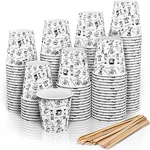 140 Vasos Carton Desechables para Café Espresso 110 ml con Agitadores de Madera para Café para Llevar