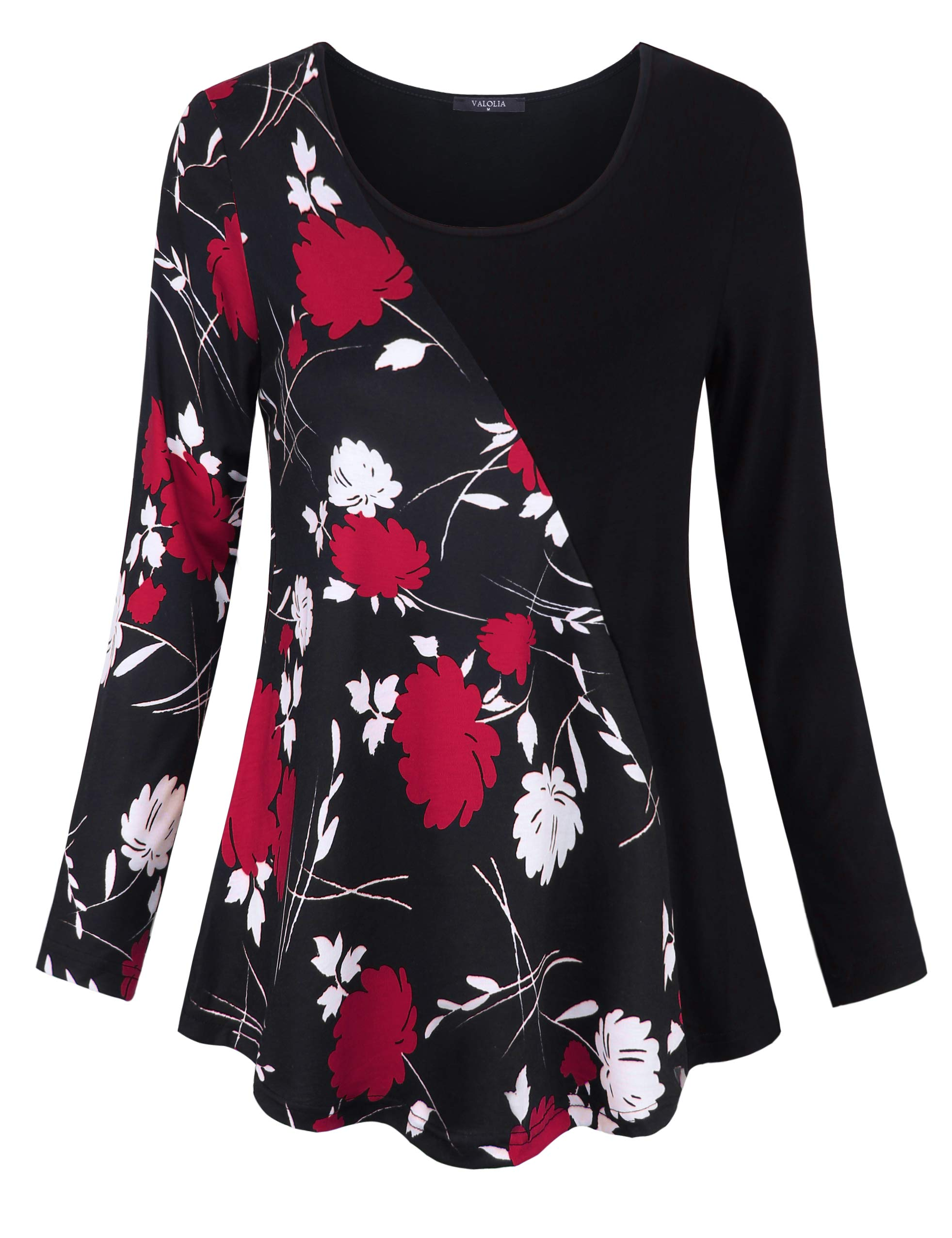 VALOLIA Tunic Tops for Women, Casual O-Neck Long Sleeve Round Bottom Flowy Knit Tee Shirt Blouse Black Red Flower S