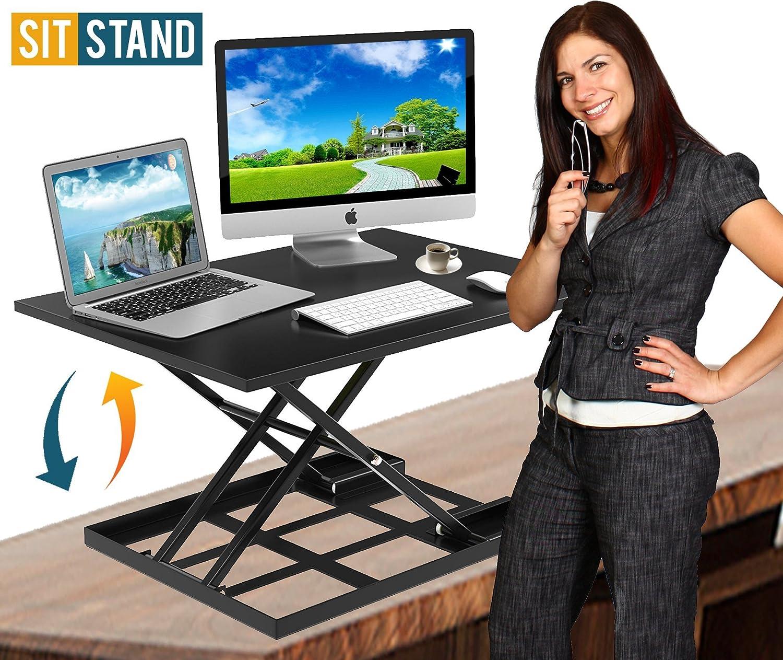 Standing Desk Stand Up Desk Height Adjustable Desk Standing Desk Converter Sit Stand Desk Converter Foldable Desk Adjustable Height Desk Folding Workstation Desk Riser Ergonomic Table Stand - 32 inch : Office Products
