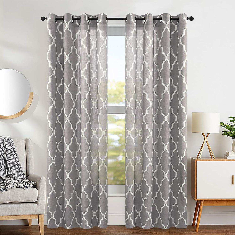 """jinchan Moroccan Tile Design Linen Curtain Textured Lattice Grommet Top Window Panels Drapes for Bedroom Living Room Window Patio Door Set of 2 Panels 95"""" L Charcoal Grey"""