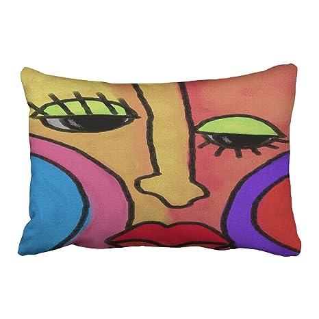 musesh abstracto cara funda de cojines manta funda de ...