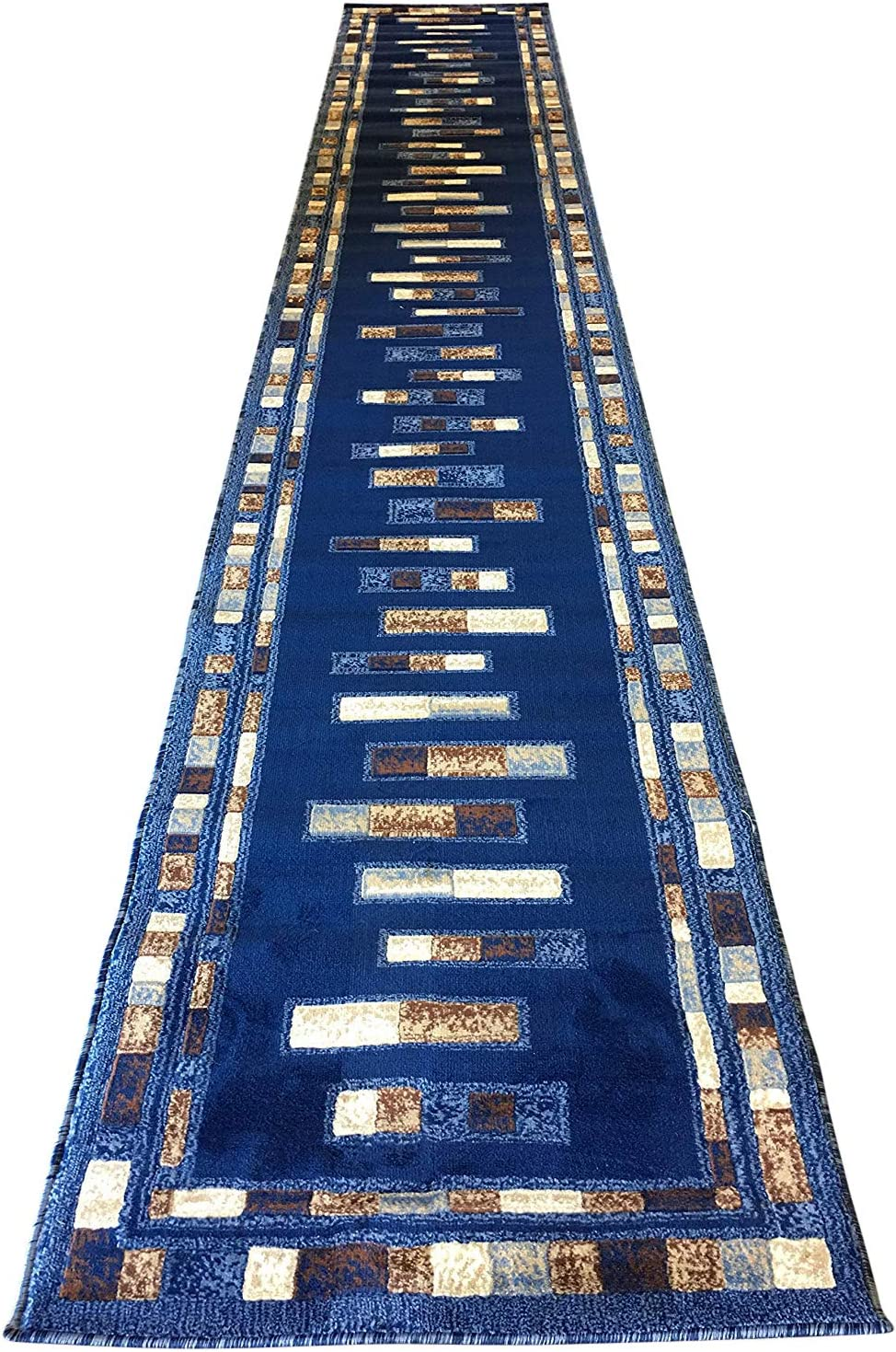 Amazon Com Emirates Modern Long Runner Rug Dark Blue Design 504 31 Inch X 15 Feet 8 Inch Furniture Decor