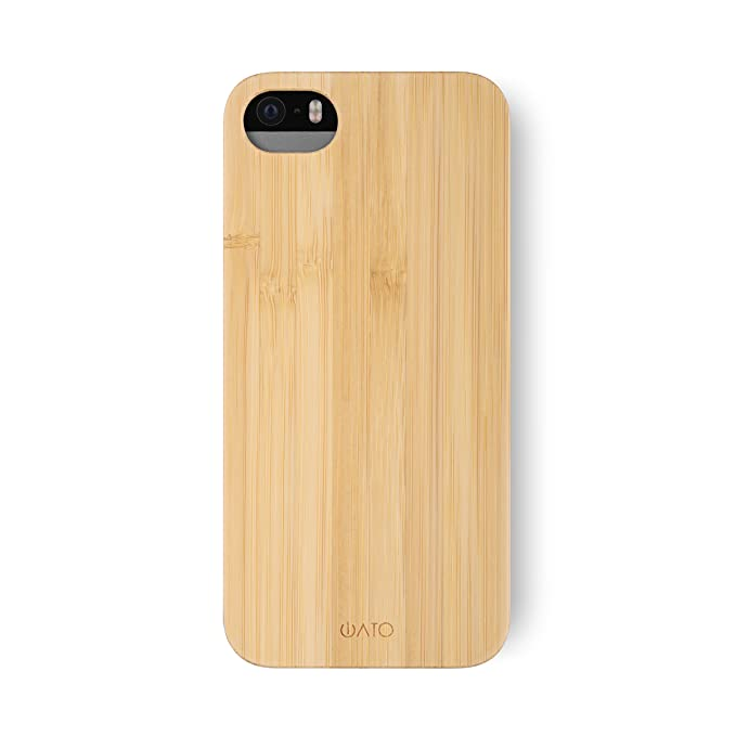 buy popular 06b2a 56b1f iATO iPhone SE / 5s / 5 Wooden Case - Real Bamboo Wood Grain Premium  Protective Shockproof Slim Back Cover - Unique, Stylish & Classy Thin Snap  on ...