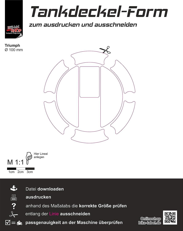 Tankdeckel-Pad Aufkleber Union Jack passend f/ür Triumph Bike Label 650004-VA