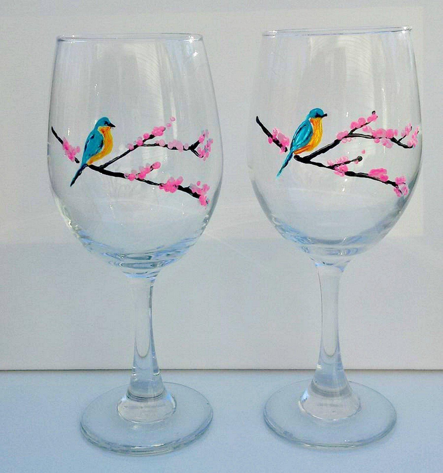 Bluebird & Pink Cherry Tree Branches (Set Of 2) Hand Painted Wine Glasses,Bird Kitchen Decor