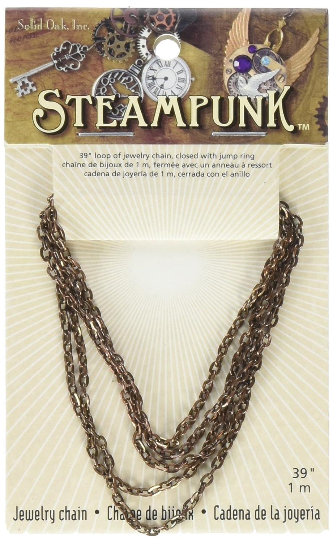 Solid Oak Steampunk Chaîne en métal 1 m Cuivre Antique Petit Ovale n°20, Acrylique, Multicolore, 3pièces