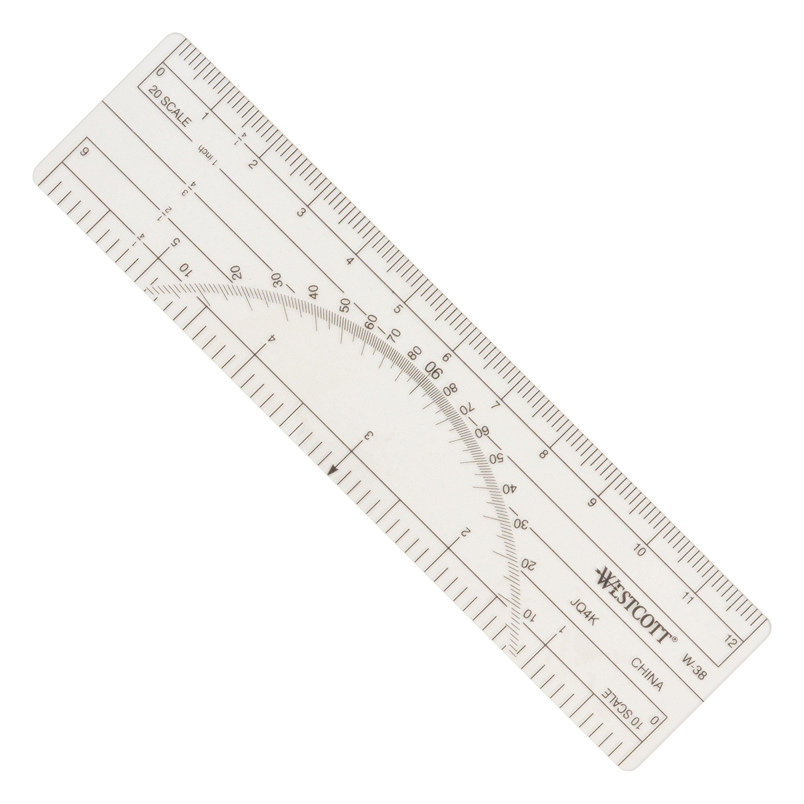 Westcott Protractor Ruler 6'', 10ths, 20ths, Transparent (W-38) by Westcott