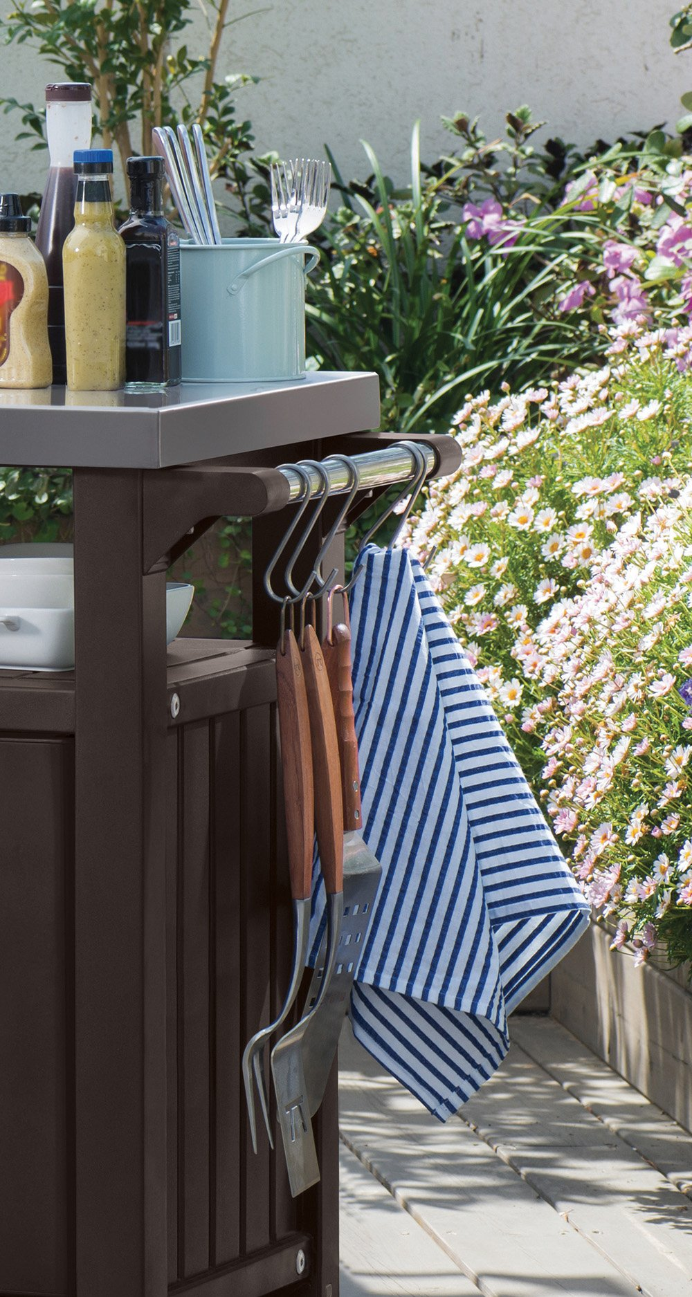 Outdoor Prep Station Serving BBQ Grilling Patio Deck Cabinet Backyard Table by Keter Products (Image #8)